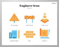 Пакет значков инженера плоский иллюстрация штока