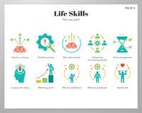 Пакет значков навыков жизни плоский иллюстрация штока