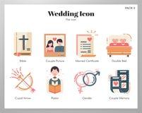 Пакет значков свадьбы плоский иллюстрация штока