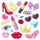 Пакет значков стикеров для девушек Стоковое Изображение
