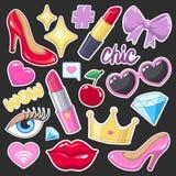 Пакет значков стикеров для девушек Стоковые Изображения