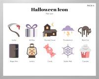 Пакет значков хеллоуина плоский бесплатная иллюстрация