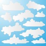 Пакет иллюстрации вектора облаков шаржа Стоковые Изображения RF