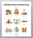 Пакет на открытом воздухе значков воссоздания плоский бесплатная иллюстрация