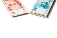 Пакет одной и пять тысяч рублевок банкнот Стоковое фото RF