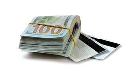 Пакет долларов и кредитных карточек наличных денег Стоковая Фотография RF