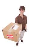 пакет работника доставляющего покупки на дом стоковая фотография