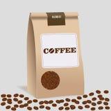 Пакет сумки еды бумаги Брайна кофе ремесла Реалистический шаблон модель-макета вектора Комплексное конструирование вектора Стоковая Фотография RF