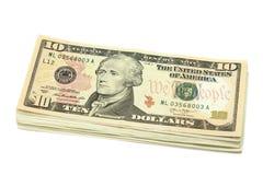 Пакет счетов в 10 американских долларах Стоковое Фото