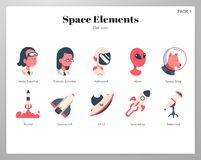 Пакет элементов космоса плоский иллюстрация штока