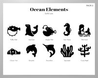 Пакет элементов океана твердый бесплатная иллюстрация
