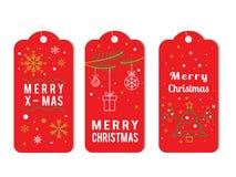 Пакет ярлыка рождества Elegante в красном векторе стиля иллюстрация штока
