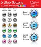 Пакет 6 кнопок сети Стоковые Изображения