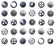 Пакет Cogwheel мега metal шестерня с реальной текстурой на изолированном bac Стоковые Изображения RF