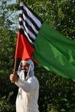Пакистанский вероисповедный политический актуарий развевает флаг партии на ралли стоковая фотография