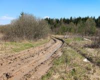 Пакостная колейность с лужицами красивейшее лето дороги дня сельской местности стоковое фото rf