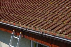 Пакостная крыша и сточная канава требуя чистки стоковое изображение