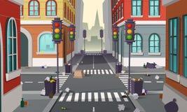 Пакостная улица с отбросом, предпосылкой вектора иллюстрация штока