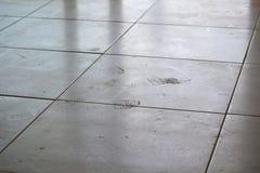 Пакостные следы ноги на белой плитке Стоковое Фото