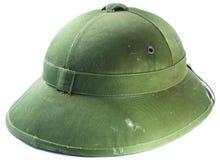Пакостный зеленый шлем японского солдата изолированный на белизне Стоковые Фото