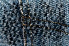 Пакостный крупный план grunge устарелой текстуры джинсовой ткани голубых джинсов карманной, предпосылка макроса для вебсайта или  Стоковое Изображение RF