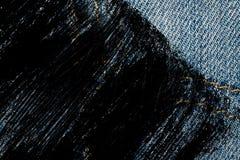 Пакостный крупный план grunge устарелой текстуры джинсовой ткани голубых джинсов карманной, предпосылка макроса для вебсайта или  Стоковые Изображения RF