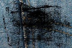 Пакостный крупный план grunge устарелой текстуры джинсовой ткани голубых джинсов карманной, предпосылка макроса для вебсайта или  Стоковое Фото