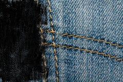 Пакостный крупный план grunge устарелой текстуры джинсовой ткани голубых джинсов карманной, предпосылка макроса для вебсайта или  Стоковая Фотография RF