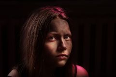 Пакостный устрашенный девочка-подросток Стоковое Изображение