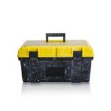 Пакостный черный ящик с желтой крышкой для инструментов с ручкой Стоковые Изображения RF