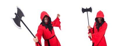 Палач в красном костюме с осью на белизне стоковое изображение rf