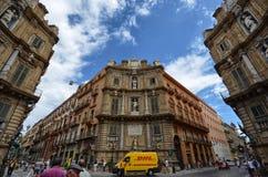 Палермо, Италия, Сицилия 24-ое августа 2015 Quattro Canti, или аркада Villena Стоковая Фотография