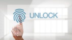 Палец открывая интерфейс с отпечатком пальцев стоковая фотография