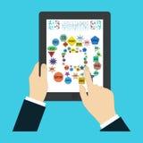 Палец экрана касания - творческая иллюстрация вектора в плоском стиле Человеческая рука поверхностного дисплея SEO - поисковая си Стоковое фото RF