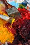 палитра картины маслом художников Стоковые Фото