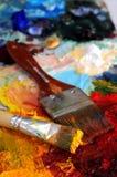 палитра картины маслом художников Стоковые Изображения RF
