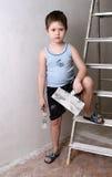 палитра ножа мальчика Стоковая Фотография RF