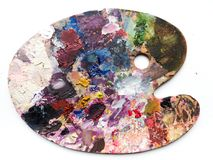 Палитра художников с цветами смешивает над белой предпосылкой Стоковая Фотография RF