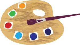 паллет paintbrush художника Стоковые Фотографии RF
