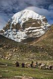 Паломники встают на колени к Mt Kailash, Kang Rinpoche, святой горе, Тибету стоковые фотографии rf