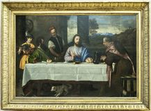 Паломники ` Emmaus Emmaus- Les Pelerins d Tiziano Vecellio L стоковые фото