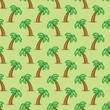 Пальма безшовной картины тропическая на зеленой предпосылке Экзотическая предпосылка картины пальмы Стоковые Изображения