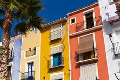 Пальма и красочные дома в приморской деревне Villajoyosa в южной Испании стоковая фотография rf