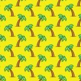 Пальма картины тропическая на желтой предпосылке Картина экзотической пальмы безшовная Стоковые Фото