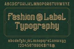 Пальмира оформления ярлыка моды Изолированный английский алфавит Письма, номера и некоторые символы Стоковое Изображение RF