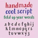 Пальмира рукописного стиля холодная английский алфавит зернистой текстуры Шрифт моды строчных букв Стоковые Изображения RF