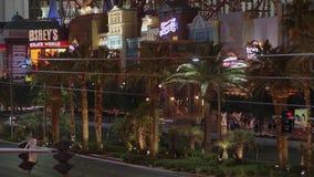 Пальмы на Лас Вегас Боулевард загорелись на ноче - США 2017 акции видеоматериалы