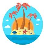 3 пальмы на острове и солнце На острове морские звёзды и камни editable Иллюстрация вектора плоская кругло иллюстрация штока