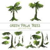 Пальмы шаржа зеленые на белой предпосылке иллюстрация штока