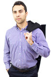 пальто дела его человек удерживания над плечом Стоковое Фото